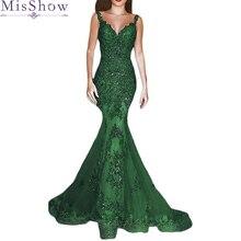aa0d9763 Verde Sexy vestido de noche largo 2019 de encaje de cuello V vestido de  sirena con reborde vestidos de fiesta rojo vestido de fi.