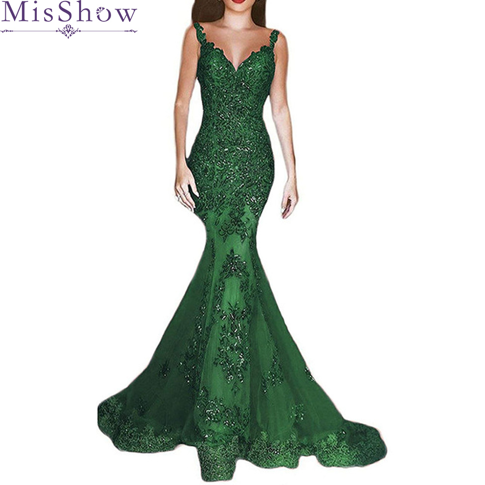 Sexy Green Long   Evening     Dress   2019 Lace V Neck Prom Gown Beaded Mermaid Party   Dresses   Red vestido de festa Formal Robe de soiree