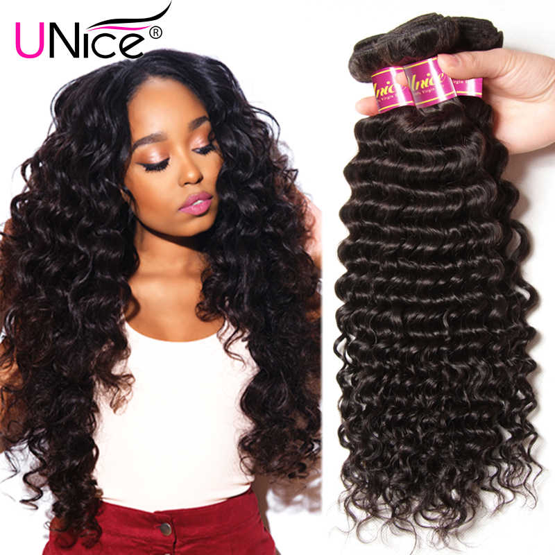 "UNice Hair Company Peruvian Deep Wave 1 Bundle 100% Natural Human Hair Weaves Remy Hair Bundles Can Mix Length 12""-26"""