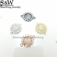 10pcs2017 Fashion!make bracelets higt quality CZ flowers shape blacele Inlay zircon shining Elegant four color for Birthday Gift