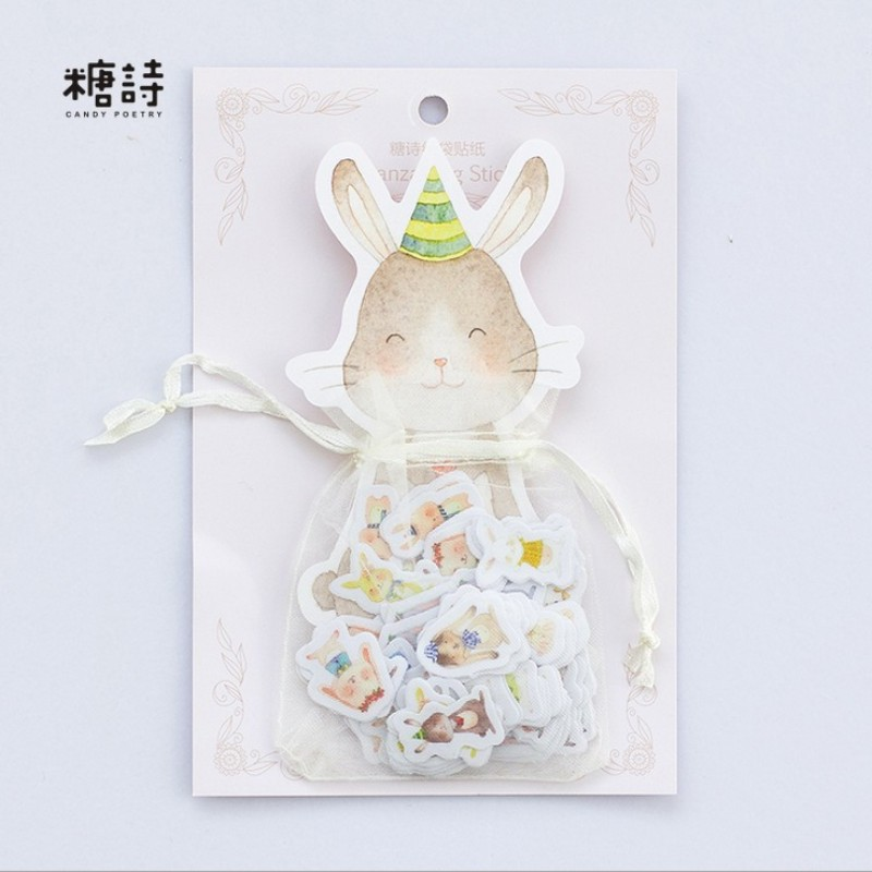 100pcs/bag Cute rabbit Organza bag paper sticker Album scrapbooking diary diy decoration children favorite stationery