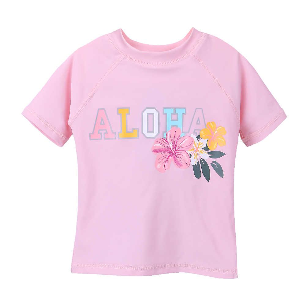Baohulu Musim Panas Gadis Kecil Anak-anak Dua Set Baju Renang Tankini UV 50 + Perlindungan Baju Renang Yang Indah Bunga Merah Muda Lengan Pendek Baju Renang