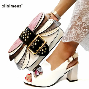 Image 5 - Mature Style Italian Ladies Matching Shoe and Bag Pu Nigerian Shoes and Bags Set for Party Women Shoe and Bag To Match in Pink