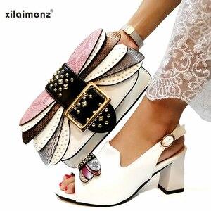 Image 5 - בוגר סגנון איטלקי גבירותיי נעל התאמת תיק Pu ניגרי נעלי למסיבה נשים נעליים ותיק כדי להתאים ב ורוד