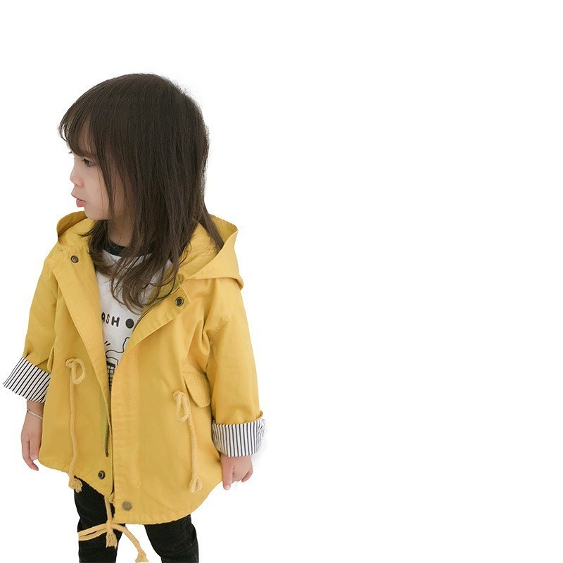 Toddler Baby Outwear Yellow Fashion Hooded Windbreaker For Girls Lovely Pocket Kids   Trench   Coat New Autumn Girls Jackets Clothes