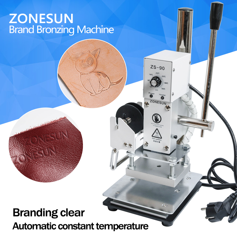ZONESUN Hot Foil Stamp Leather Embossing Customized Machine Desktop Wood Card and Paper Copper Mold Stamping zonesun 5x7 8x10 10x13cm220v maunal stamping machine hot foil paper wood leather logo machine 150w heat press machine