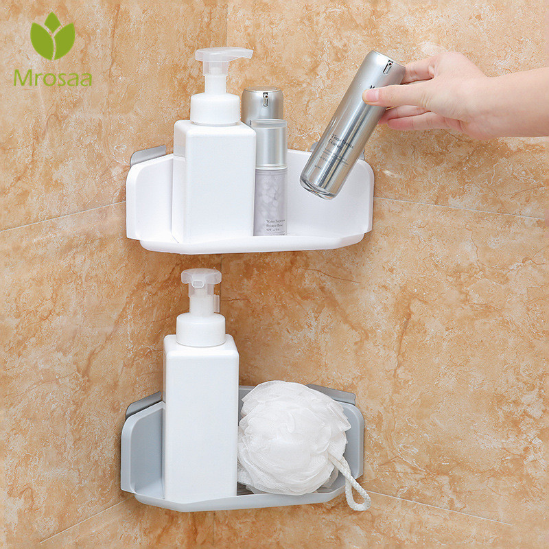 Mrosaa 3 Colors Suction Cup Corner Shelf Bathroom Shampoo Shower Shelf Holder Organizer Kitchen Storage Rack Container