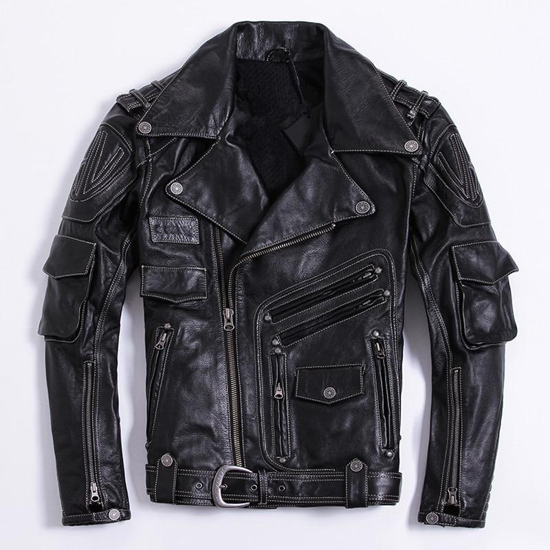 2018 Black Men Slim Fit Bikers Leather Jacket Diagonal Zipper Plus Size 4XL Genuine Cowhide Russian Leather Coat FREE SHIPPING