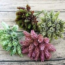 30 uds/1 paquete de planta verde Artificial, flor de plástico Artificial barata para mesa decorativa para el hogar, caja de regalo de dulces diy para boda