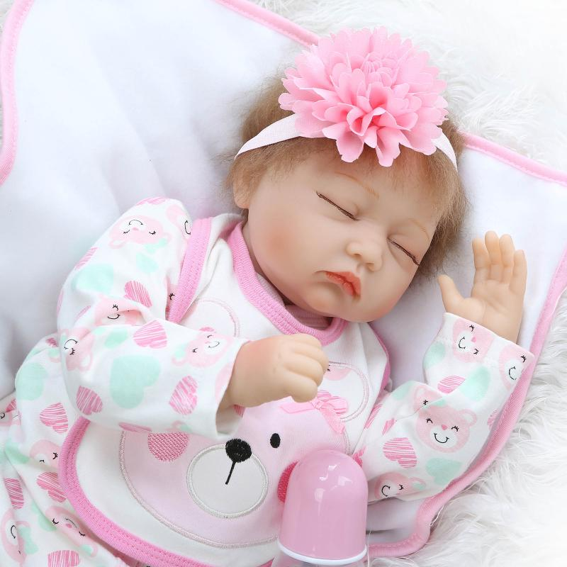 New 55CM Silicone Reborn Baby Doll For Girls Play House Bedtime Toys Kid Lovely Newborn Girl Babies Dolls Brinquedo Menina Toys npkcollection 40cm silicone reborn baby doll toy lifelike play house bedtime toys gift for kid lovely newborn girls babies dolls