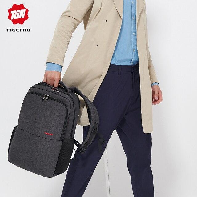 Waterproof Anti Theft Tigernu 15.6inch Laptop Backpack  Men Women Backpacks Slim School Bags Bagpack for Teens Black Grey 5