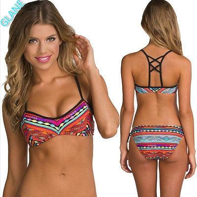 2018 New Sexy Womens Beach Bikini Set Surfing Wear Bandage Push-Up Padded Bra Swimsuit  Women's Swimming Suit Bikinis Tankini