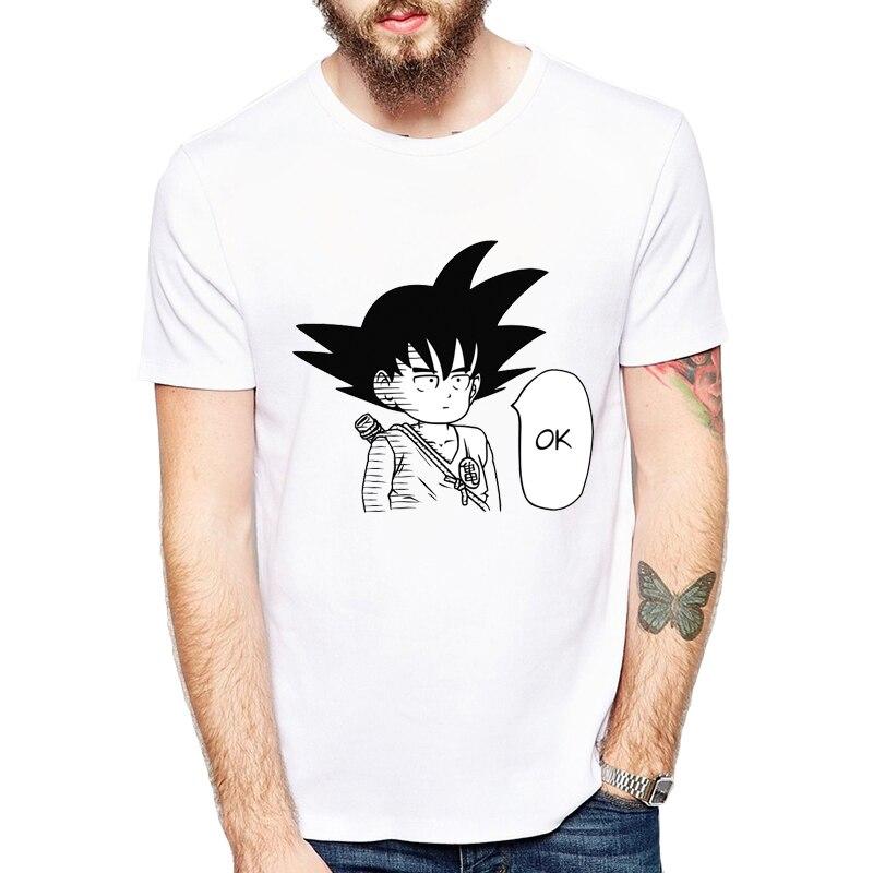 Hommes de Anime T-shirts Sangoku/Un Coup de Poing/Luffy/Naruto Ok Hero Blanc Personnalisé de Bande Dessinée Imprimé casual t-shirt chemise homme