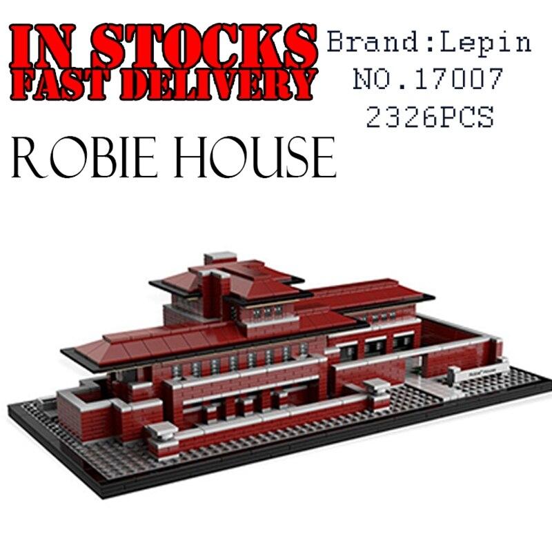 LEPIN 17007 2326Pcs Genuine Architecture Series The Robie House Set Educational Building Blocks Bricks Toys Model 21010 mini architecture series 4 cubicfun 3d educational puzzle paper