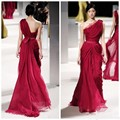 Charming Red One Shoulder Style Celebrity Dresses Draped Decoration Evening Dresses Floor-Length Chiffon Prom Gowns Vestidos