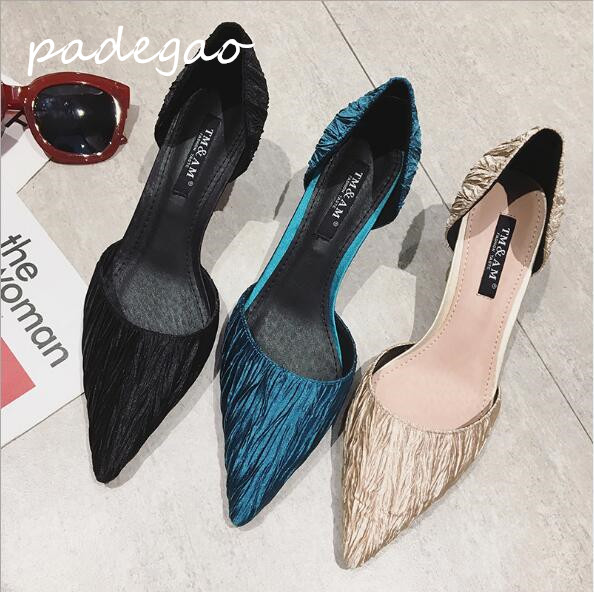 Women's Sandals Cloth Stiletto Single-Shoes Female Shallow Pleated Mouth A127 Pointed