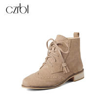 CZRBT Ankle Boots Autumn Winter Women Boots Cow Suede Round Toe Boots Fringe Lace-Up Casual Short Boots Keep Warm Woman Shoes