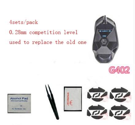 4 sets/pack Hotline juegos nivel de competencia 0.28mm ratón skate para Logitech G402 pies del ratón mouse pad envío gratis