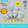 6pcs / lot  Hot sale E27 Led Light Bulb  3W 5W 7W 9W 12W LED Bulb Lamp 220v Cold white Warm White Led Spotlight Free Shipping