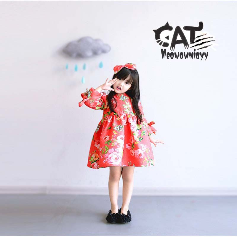 Girls dress 2017 new spring kids clothes kids girls Long-sleeved cherry peach flowers printed casual princess dress купить