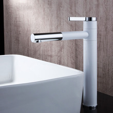 DHL Luxury white paint bathroom faucet brass chrome sink taps mixer heightening faucets KF878
