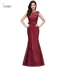Sexy Lace Mermaid Long Evening Dresses Sleeveless Bow Sash Formal Party Bridesmaid Prom Dresses women dress long party ball prom gown sleeveless formal bridesmaid lace dresses
