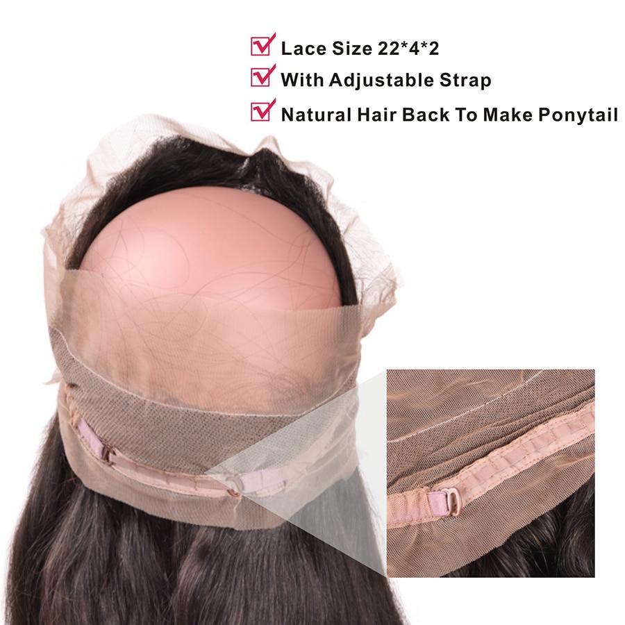 Mslynn Para këputur 360 Dantel Mbyllja frontale me flokë për - Flokët e njeriut (të zeza) - Foto 4