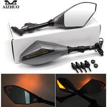купить Motorcycle Rearview Mirror Side Mirror with Turn Signals LED Lights Smoke Lens for Kawasaki suzuki honda yamaha ktm ducati bmw по цене 2309.86 рублей