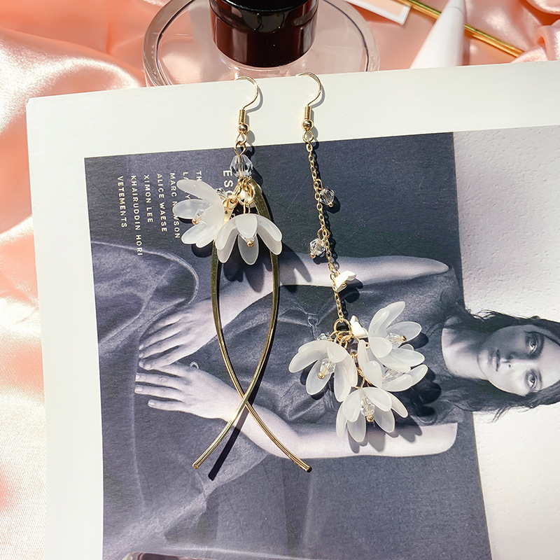 DREJEW Asymmetric Flower Statement Earrings Silver 925 Tassel Custom Crystal Drop Earrings Sets for Women Wedding Jewelry HE9211 in Drop Earrings from Jewelry Accessories