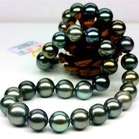 925 серебряные натуральным большой таитянская Черная жемчужина Цепочки и ожерелья 12 15 круглый очень яркий свет натуральный