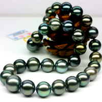 925 silver real natural big Tahitian Black Pearl Necklace 12 15 round very bright light natural