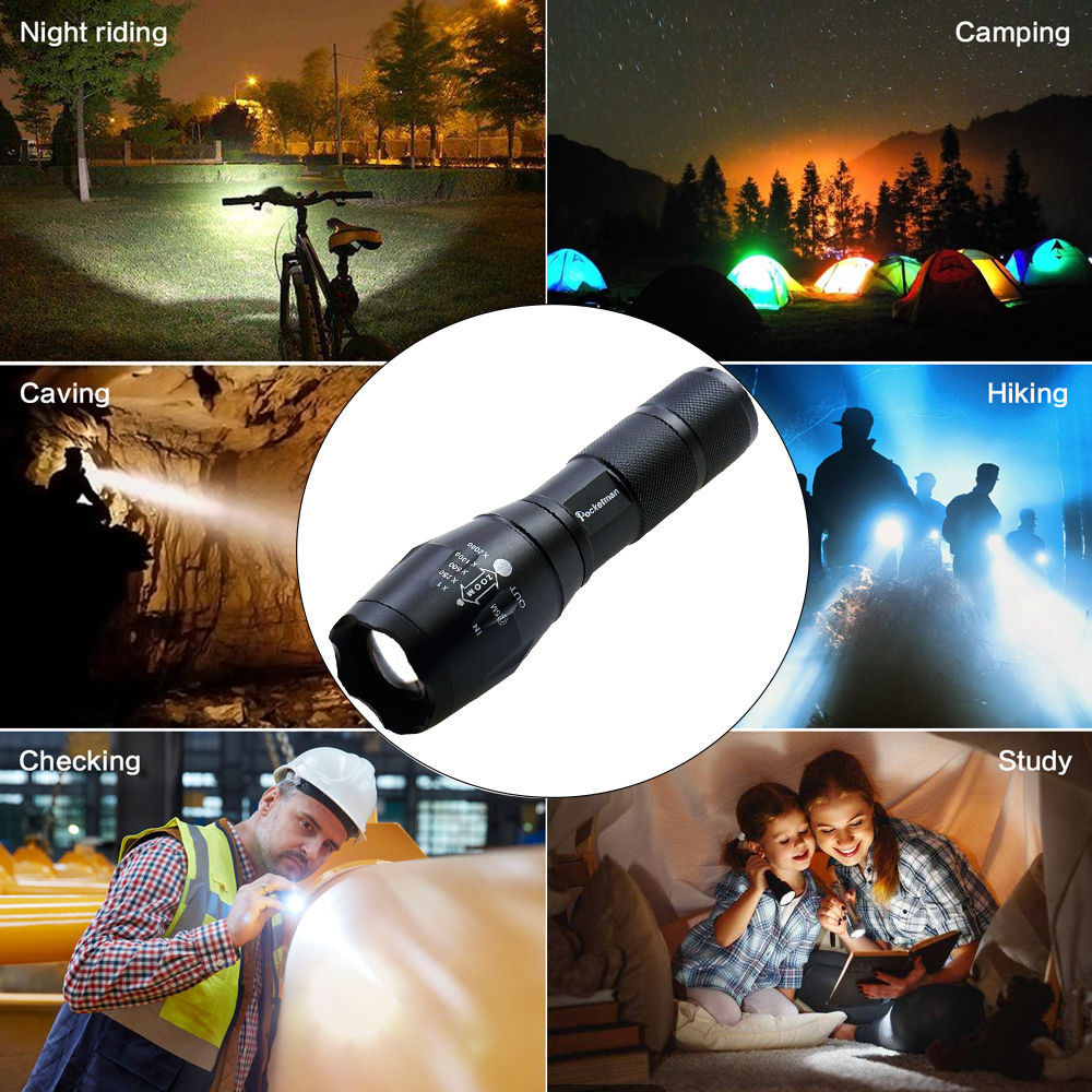 2019 HOT 5 PCS/LOTS High Power XML-T6 5 Modes 6000 Lumens LED Flashlight Waterproof Zoomable Rechargeable Torch lights z15