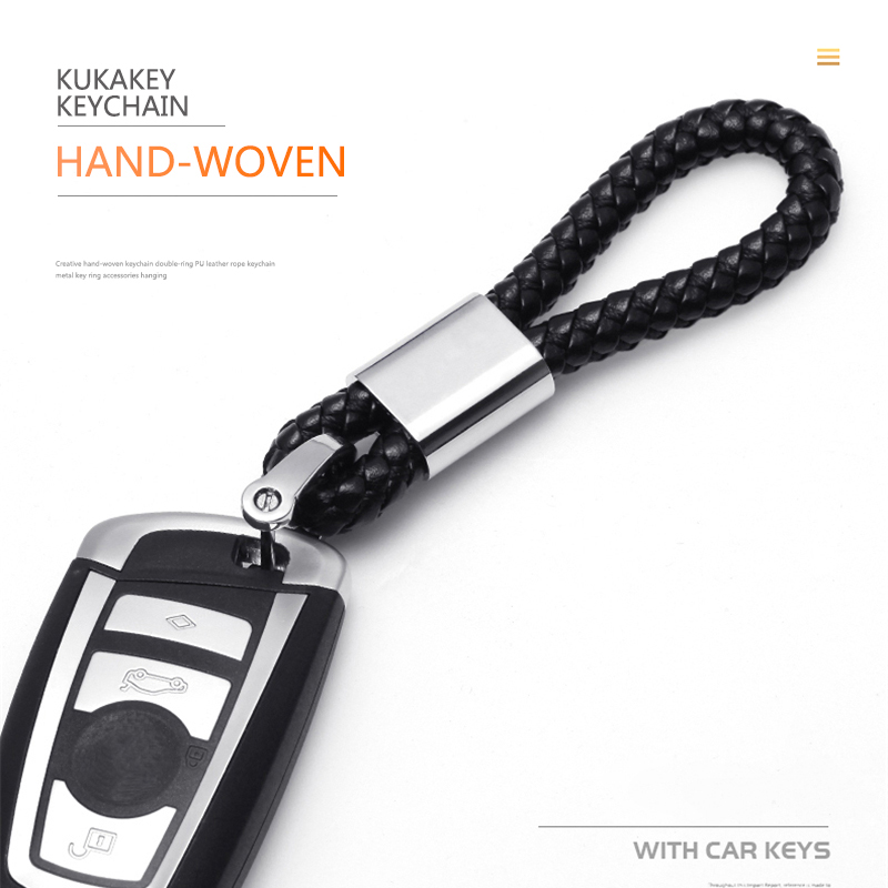 High quality woven leather keychain metal keyrings For Honda Spirior Fit Civic Accord City CRV Jazz HRV XRV Car Key Ring Chains in Key Chains from Jewelry Accessories