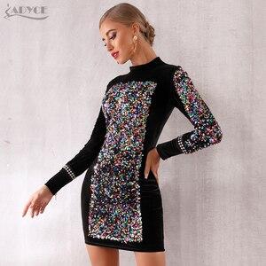 Image 5 - Adyce 2020 nowa jesienna kobiety luksusowe Celebrity wieczór Runway Party Dress Vestidos Sexy czarna z długim rękawem cekinami Mini sukienka klubowa