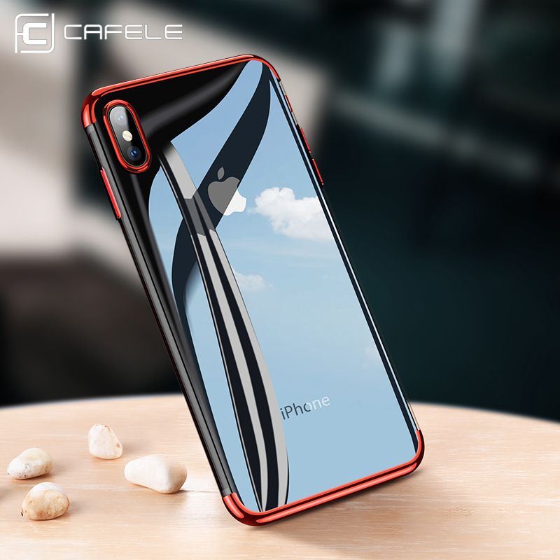 hot sale online a9c78 7c3ce US $2.99 30% OFF|CAFELE soft TPU case for iPhone X Xr Xs Max cases ultra  thin transparent plating shining case for iPhone Xs Mixed silicon cover-in  ...