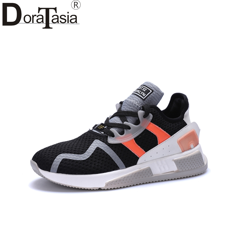 DoraTasia New Fashion Round Toe Mixed Colors lace-up Dropship Shoes Woman Casual Spring Sneakers Flats Size 35-40
