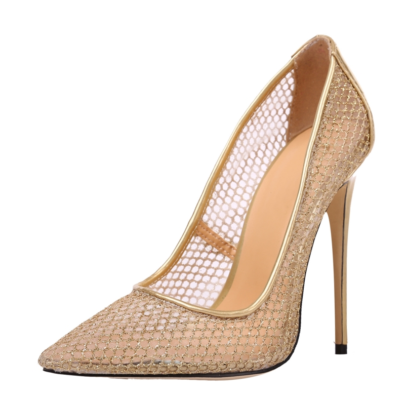 2017 Spring Summer New Net Yarn Shallow Mouth Sexy Ladies Shoes Large Size High Heels Women Party Wedding Dress Pumps SR-B0024 new 2017 spring summer women shoes pointed toe high quality brand fashion womens flats ladies plus size 41 sweet flock t179