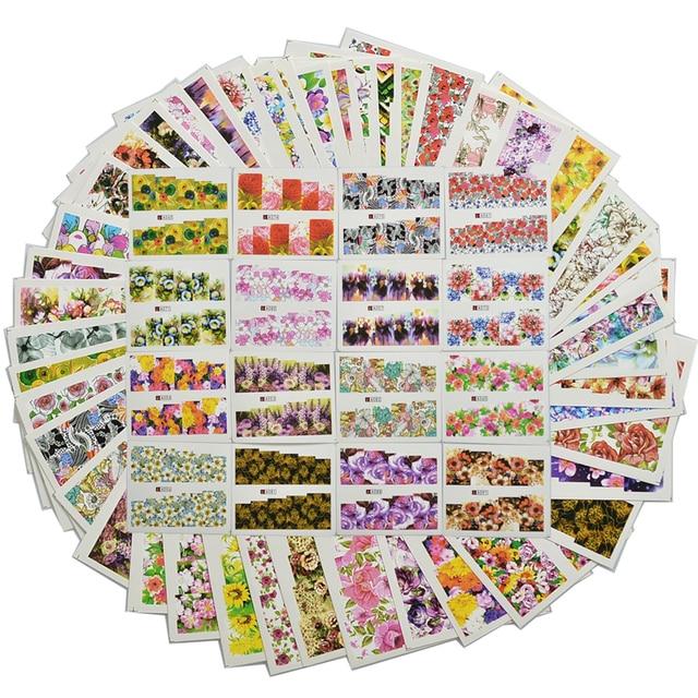 48pcs Mix Colorato di Completa Del Chiodo Del Fiore Unghie artistiche Autoadesivo di Trasferimento Dellacqua Nail Sticker Set per Gel Polish Manicure Decalcomanie TR # A049 096