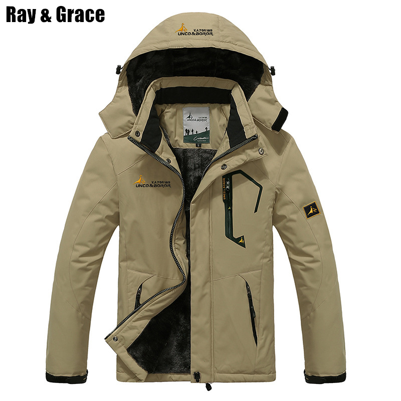 цена RAY GRACE Winter Jacket Men Outdoor Thick Fleece Thermal Coat Waterproof Hiking Jacket Camping Mountain Climbing Parka Plus Size