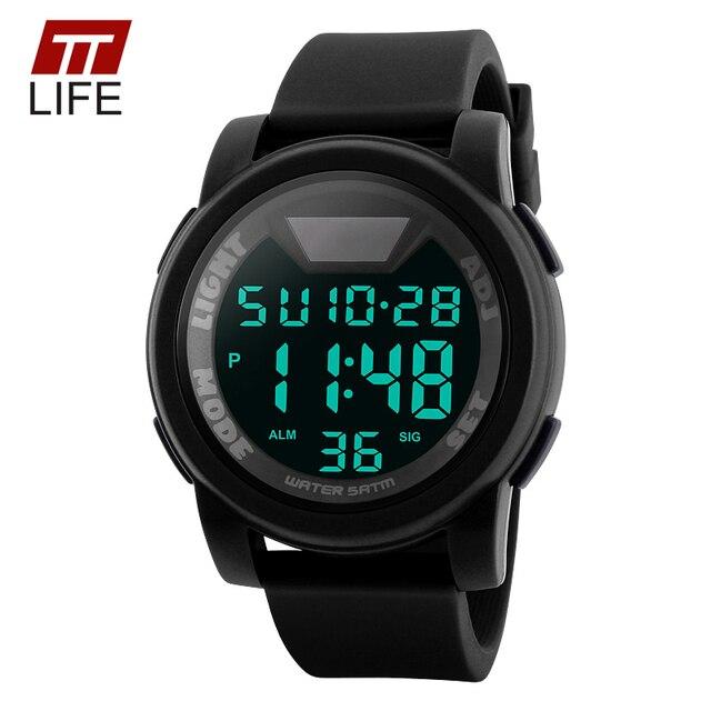 Nueva Caliente TTLIFE Marca Hombres Reloj Militar Deportes Relojes de Silicona de Moda A Prueba de agua Pantalla LED Digital Reloj de pulsera Para Hombres Reloj