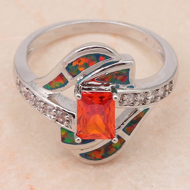 Orange fire opal ring 4