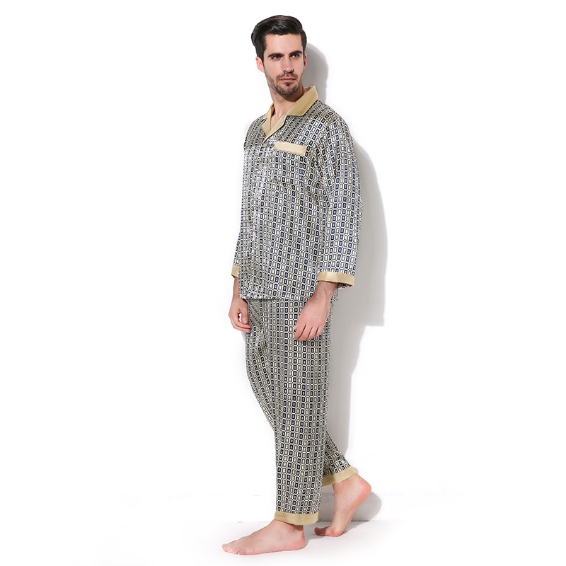 Men's Sleep & Lounge Mens Geometric Patterns Pajama Sets Yarn Weave Cotton Men Pajamas Comfy Sleepwear Men Plus Size M-4xl Soft Nightgown Pyjamas