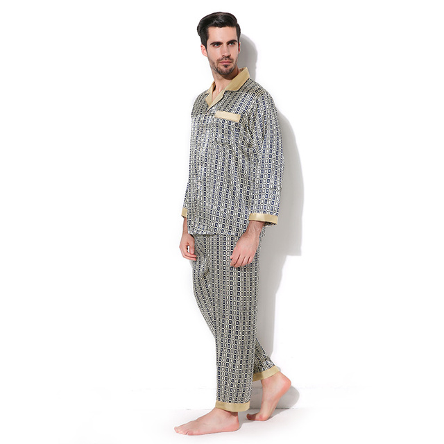 Luxury Male Sleepwear 100% Silk Long-Sleeve Men Pyjamas Pajama Sets Pants  Autumn Men 501d89097