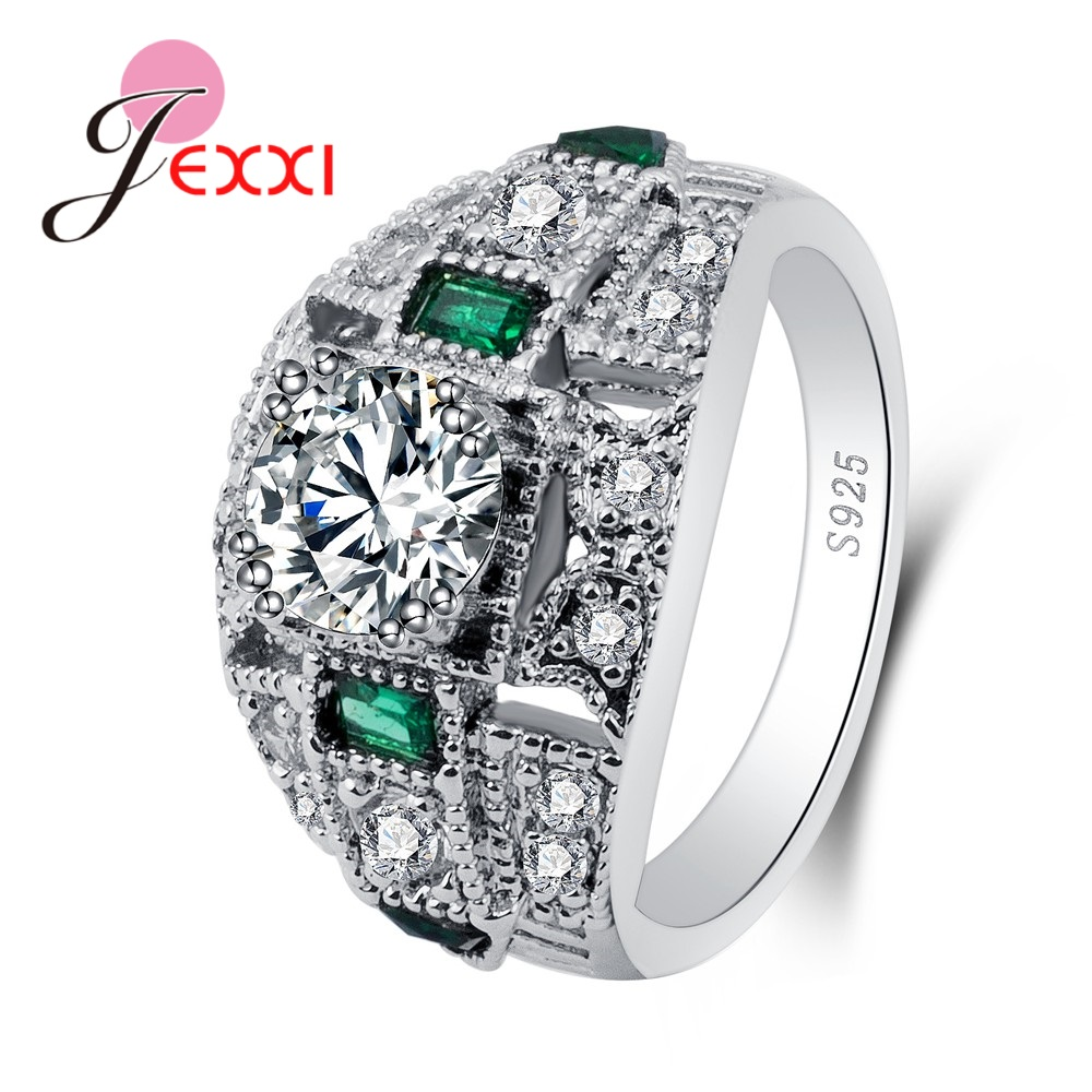 Clear Round Small Green Cubic Zirconia Great Shinning Rhinestone Fashion 925 Sterling Silver Rings For Women Engagement