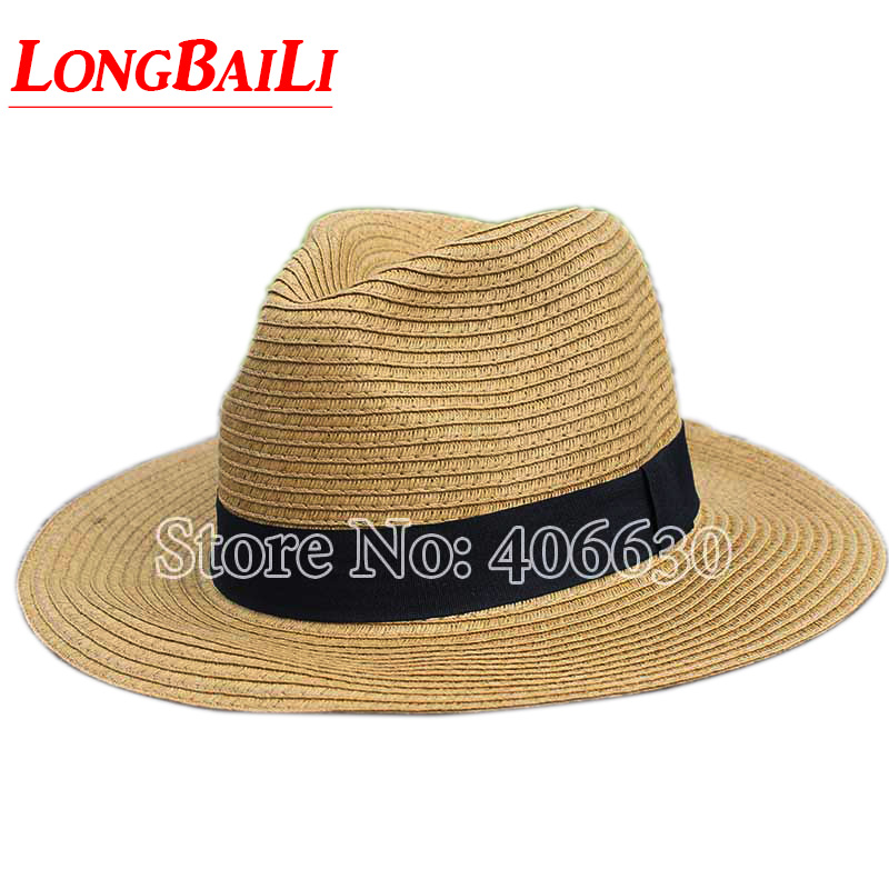 d8ce6fe2110b9 Summer Paper Braid Straw Fedora Hat For Women White Wide Brim Men Sun Beach  Caps Free Shipping SDDS002