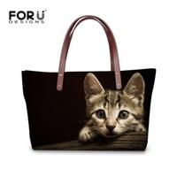 FORUDESIGNS Cute Women Large Messenger Bags Women Handbags Animal Black Cat Pattern Female Vintage Tote Shoulder