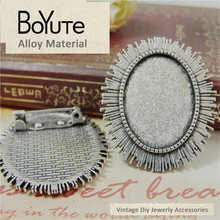 BoYuTe (20 Pieces/Lot) 25*18MM Antique Silver Oval Zinc Alloy Brooch Base Cabochon Setting Diy Jewelry Making Accessories