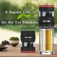 Outdoor Draagbare Creatieve Waterfles Borosilicate Double Wall Drinkware met Filter Clear 450 ml Mijn Thee Water Gift