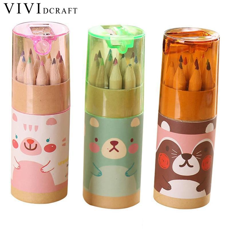 12pcs/box Crayons Pencils With Pencil Sharpener Creative Stationery Cute Bear Pencils For School And Office Colored Pencils