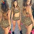 Sexy Leopardo Impressão 2016 das Mulheres Sutiã Cueca Two-piece Suit Tentação Push Up Bra Mulheres Set Femme